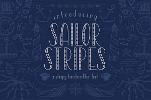 Sailor Stripes Font + Illustrations