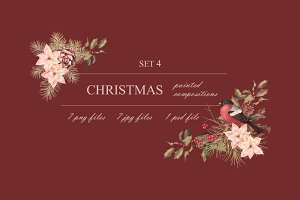 Watercolor Christmas Set 4
