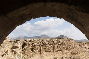 View from an arch of the Castillo