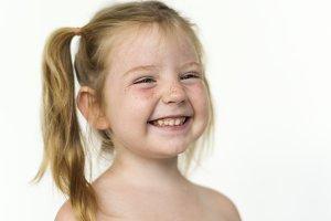 Young girl shirtless close up