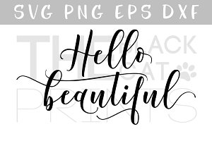 Hello beautiful SVG DXF PNG EPS