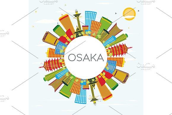 Osaka Skyline With Color Buildings