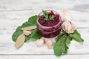 Pickled beet in a jar