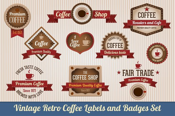 Retro Coffee Labels and Badges set