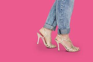 woman legs in heels