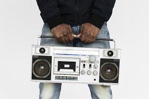 Hands holding radio