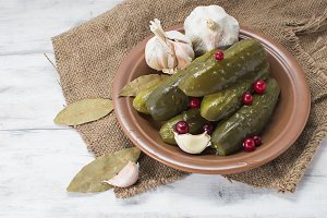 Pickled cucumbers with cranberries