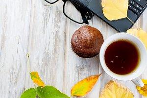 Autumn still life tea party