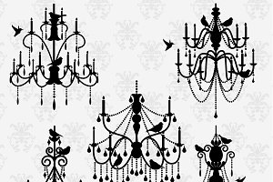 Chandeliers & Birds Vectors/Clipart