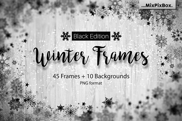 winter frames black edition textures - Winter Picture Frames