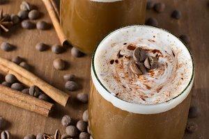 Ice coffee with ice cream