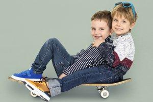 Young boys skateboarding
