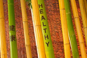 Bamboo with healthy word