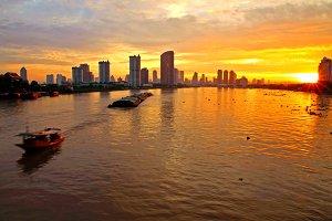 Bangkok skyline in the morning