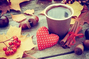 Coffee cup and red heart