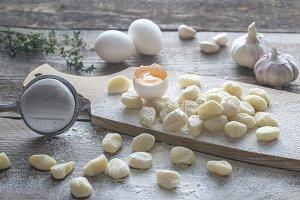 Uncooked potato gnocchi