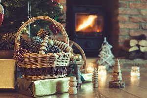 Christmas decorations in basket
