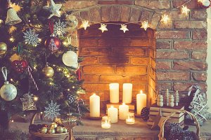 Christmas setting fireplace candles