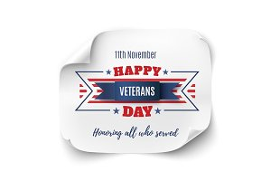 Veterans Day background on paper banner.