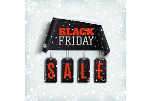 Black friday sale. Curved paper banner with black price tags.