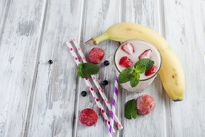 Smoothie or milkshake with fruits