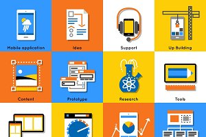 Mobile Application Flat Icon Set