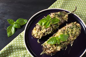 Baked eggplant with basil and cheese