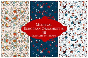 12 European Floral Patterns #1