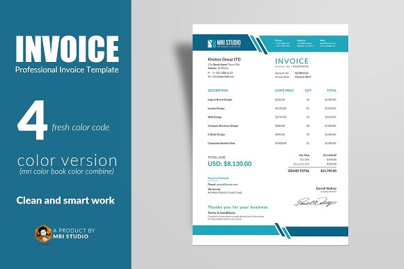 Creative Invoice Template ~ Stationery Templates ~ Creative Market