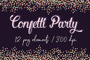 Colorful Confetti Borders Clipart
