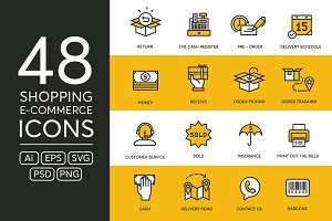 48 Shopping & E-Commerce Icons