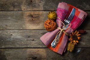 Thanksgiving concept - decorations and silver ware