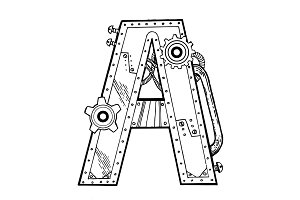 Mechanical letter A engraving vector illustration