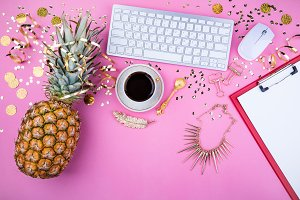 Fashion feminine workspace