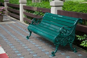 Chair of the bench in the park.