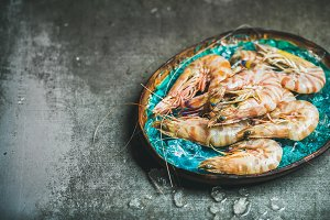 Raw uncooked tiger prawns