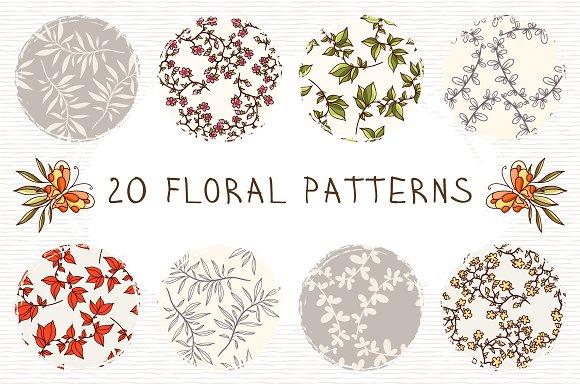 Set of 20 floral patterns