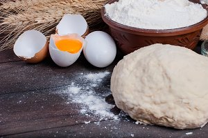 flour, dough,broken egg for baking