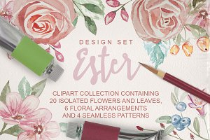 Ester Watercolor Clipart Design Set