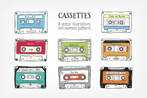 Set,seamless pattern with cassette