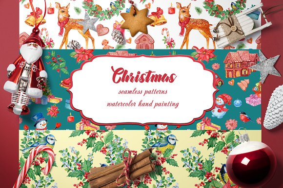 Christmas patterns watercolor
