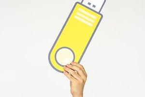 Hand Holding Flash Drive Storage