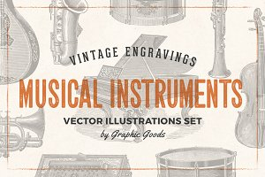 Musical Instruments Engravings Set
