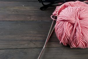 pink knitting threads