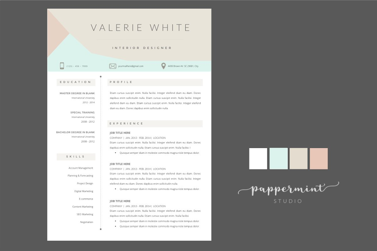 VW Resume Template + Cover WORD
