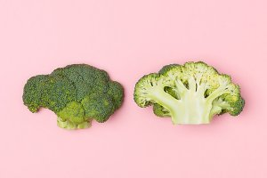 Broccoli on a pastel pink background
