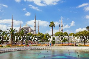 Timelapse of The Blue Mosque or Sultanahmet outdoors in Istanbul city in Turkey