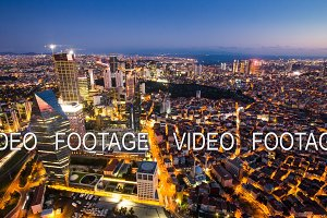 Timelapse rooftop view of Istanbul cityscape and Golden horn at night