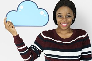 Woman Holding Cloud Computing Icon