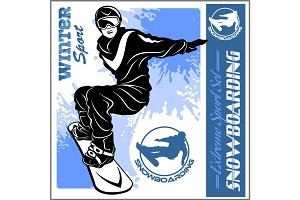 Snowboarding emblem Illustration man on light background